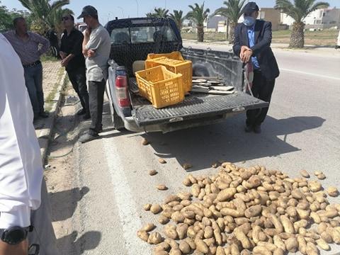 En Tunisie, des agriculteurs déversent de la pomme de terre sur la chaussée à Jendouba pour protester contre l'effondrement des prix